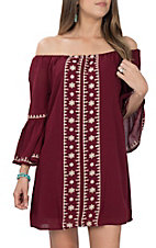 Flying Tomato Women's Burgundy Embroidered Off the Shoulder Dress