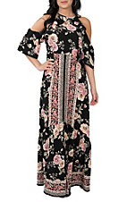 Flying Tomato Women's Black Floral Print Cold Shoulder Maxi Dress