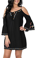 Flying Tomato Women's Black Keyhole Cold Shoulder Dress