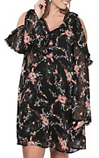 Flying Tomato Women's Black Floral Print Cold Shoulder Long Sleeve Dress