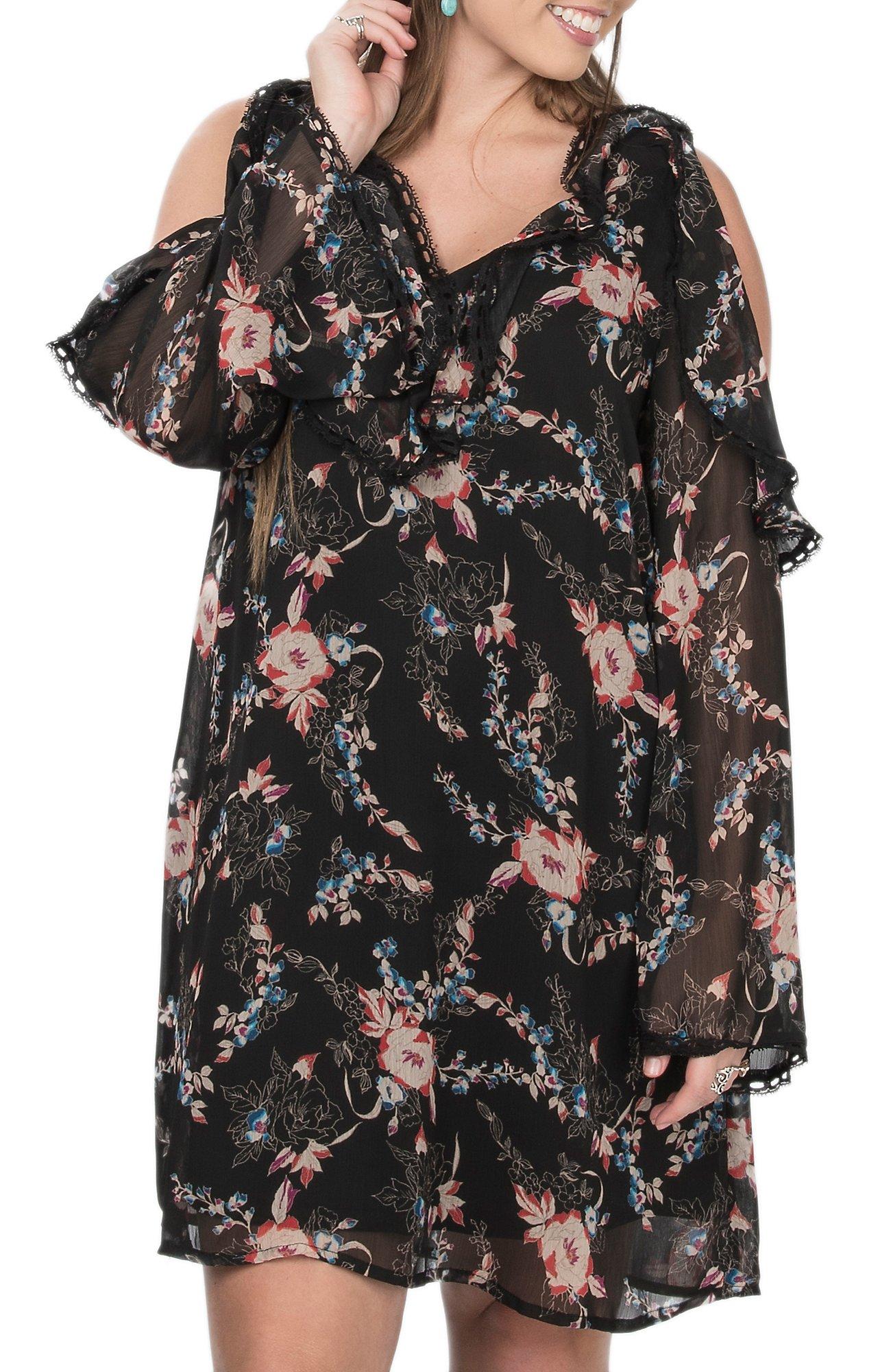 Flying Tomato Womens Black Floral Print Cold Shoulder Long Sleeve