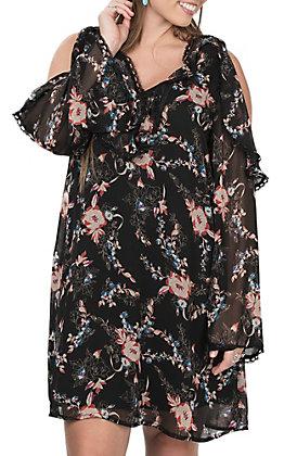 Flying Tomato Women's Black Floral Print Cold Shoulder Long Sleeve Dress