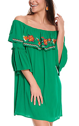 Flying Tomato Women's Green with Orange Floral Embroidery Off the Shoulder Ruffle Dress