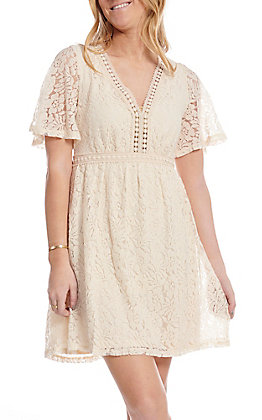 Flying Tomato Women's Ivory Lace Short Sleeve Dress