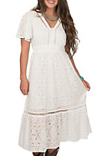 Flying Tomato Women's White Lace Midi Length with Ruffle Him Short Sleeve Dress