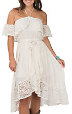 Flying Tomato Women's Ivory with Lace Off the Shoulder Sleeveless Dress