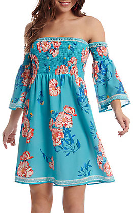 Flying Tomato Women's Turquoise with Coral Floral Print Off the Shoulder Smocked Bell Sleeve Dress