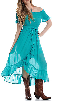 Flying Tomato Women's Turquoise with Ruffles Smocked Short Sleeve Maxi Dress