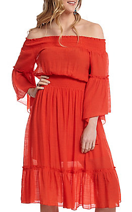 Flying Tomato Women's Red Off The Shoulder Bell Sleeve Dress