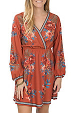 Flying Tomato Women's Rust Floral Dress