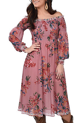 Flying Tomato Women's Mauve Floral Smocked Print Dress