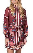 Flying Tomato Women's Burgundy Floral Dress