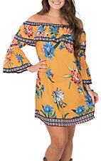 Flying Tomato Women's Mustard with Floral Print and Ruffle 3/4 Sleeve Off the Shoulder Dress