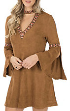 Flying Tomato Women's Camel Faux Suede Keyhole Dress