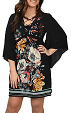 Flying Tomato Women's Black Floral Bell Sleeve Dress