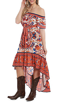 Flying Tomato Women's Orange and Blue Smocked Print Dress