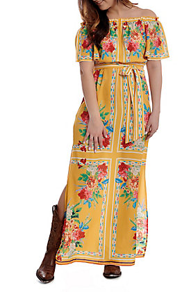 Flying Tomato Women's Mustard Floral Off the Shoulder Maxi Dress