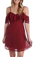 Flying Tomato Women's Burgundy Cold Shoulder Lace Dress