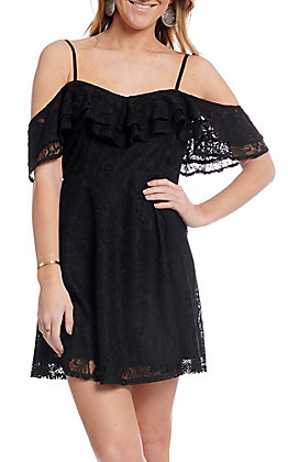Flying Tomato Women's Black Cold Shoulder Lace Dress