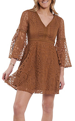 Flying Tomato Women's Camel Lace V-Neck Dress