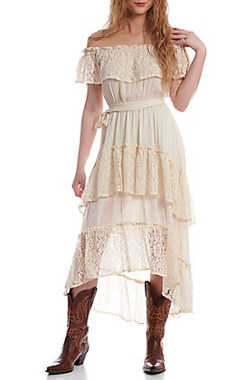 Flying Tomato Women's Ivory Lace Off the Shoulder Dress