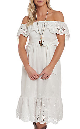 Flying Tomato Women's White Off the Shoulder Lace Dress