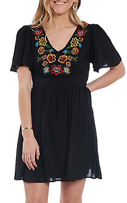 Flying Tomato Women's Embroidered Black Mini Dress