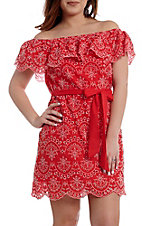 Flying Tomato Women's Red Off the Shoulder Dress