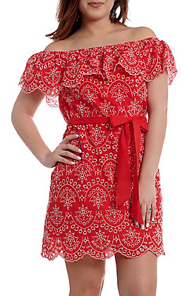 b61a52413de Flying Tomato Women s Red Off the Shoulder Dress