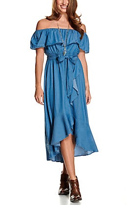 Flying Tomato Women's Chambray Denim Ruffle Off the Shoulder Hi-Lo Maxi Dress