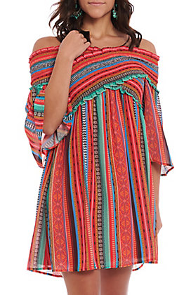 Flying Tomato Women's Cross Body Aztec Striped Print Dress
