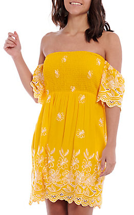 Flying Tomato Women's Yellow Embroidered Off The Shoulder Smock Dress