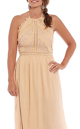 Flying Tomato Women's Beige Crochet Maxi Dress