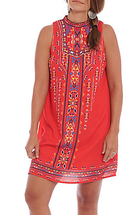 Flying Tomato Women's Red Aztec Print Tank Dress
