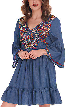 Rockin C Denim with Embroidery V-Neck 3/4 Bell Sleeves Dress