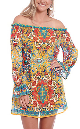 Flying Tomato Women's Mustard Medallion Print Off the Should Dress