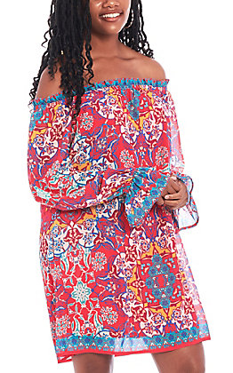 Flying Tomato Women's Red Medallion Print Off the Should Dress