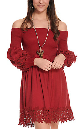 Flying Tomato Women's Burgundy with Lace Smocked Dress