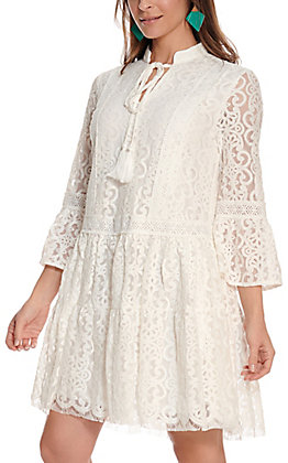 Flying Tomato Women's White Lace 3/4 Bell Sleeve Dress