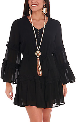 Flying Tomato Women's Black Sheer Long Sleeve Dress
