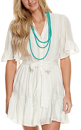 Flying Tomato Women's Ivory White Button Down with Tie at Waist Short Sleeve Dress