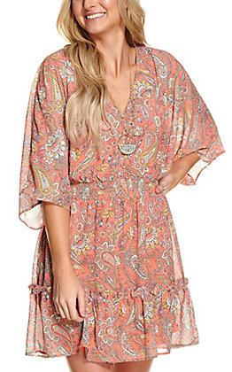 Flying Tomato Women's Coral Paisley Print Chiffon Dolman Sleeves Dress