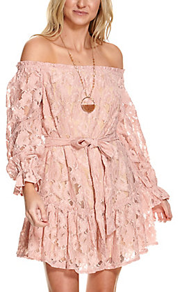 Flying Tomato Women's Blush Lace Off the Shoulder Long Sleeve Dress