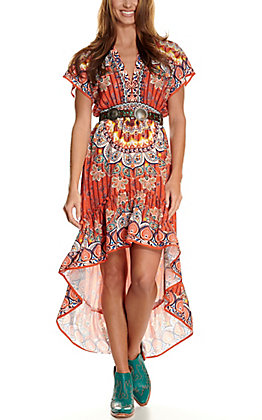 Rockin' C Women's Orange with MultiPrint Hi-Lo Cap Sleeve Dress