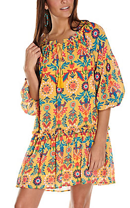 Flying Tomato Women's Mustard with Floral Print Long Sleeve Dress