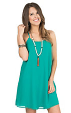 Moa Moa Women's Aqua with Lattice Back Chiffon Style Sleeveless Dress