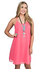 Moa Moa Women's Pink with Lattice Back Chiffon Style Sleeveless Dress