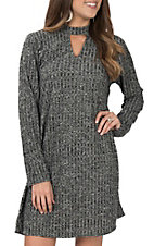 Moa Moa Women's Black And Grey Choker Neck Dress
