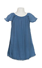 Flying Tomato Girls Denim Blue Gauze Dress