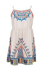 Flying Tomato Girl's Cream with Turquoise, Orange, and Yellow Exotic Print Sleeveless A-Line Dress
